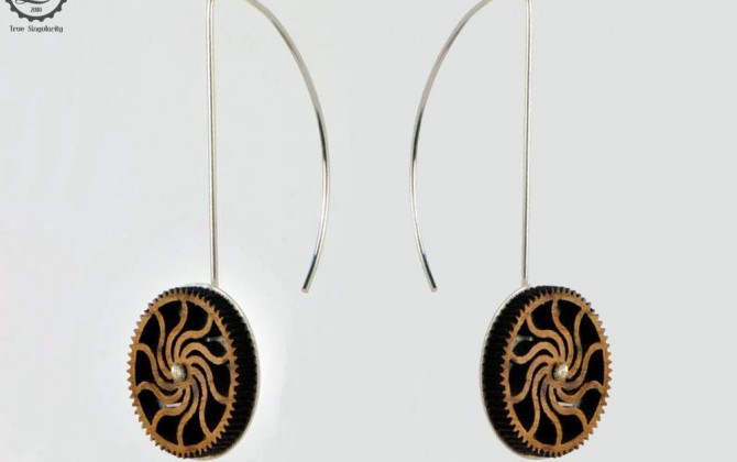 Timber cog earrings