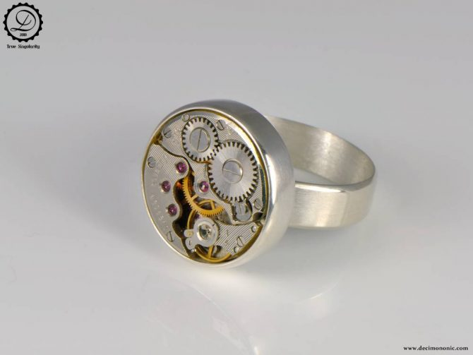 Tempus Fugit Collection: Alpha ring   Steampunk sterling silver ring by Decimononic