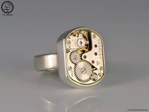 tempus fugit collection beta ring steampunk sterling silver ring by decimononic - Steampunk Wedding Rings