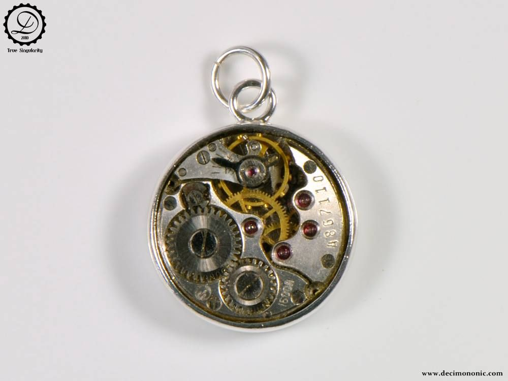 Alpha charm tempus fugit series machinarium collection by alpha charm by decimononic steampunk pendant with vintage watch movement mozeypictures Gallery