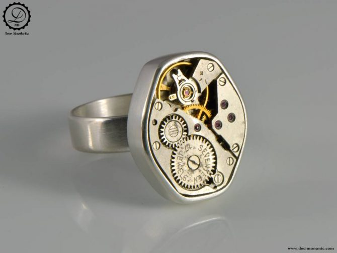 Tempus Fugit Collection: Gamma Ring | Steampunk sterling silver ring by Decimononic