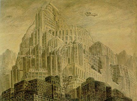 Metropolis - City of the sons colored pencil and grey wash on paper - Erich Kettelhut