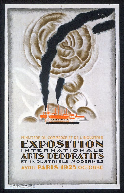 "Affiche de l'exposition Art déco de 1925 à Paris. Poster from the ""Exposition internationale des Arts Décoratifs et industriels modernes "" in 1925"