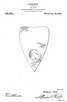 William Fuld planchette - Design Patent 56001, 10 August 1920